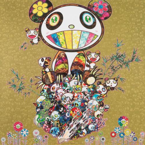 I Met a Panda Family: golden 2013 50 x 50 cm Offset lithograph